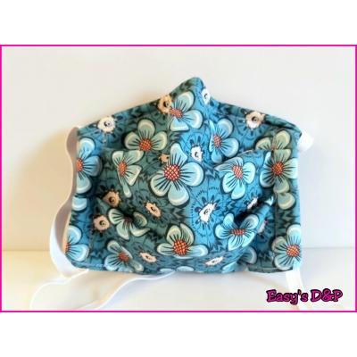 Mondkapje bloemen schattig blauw