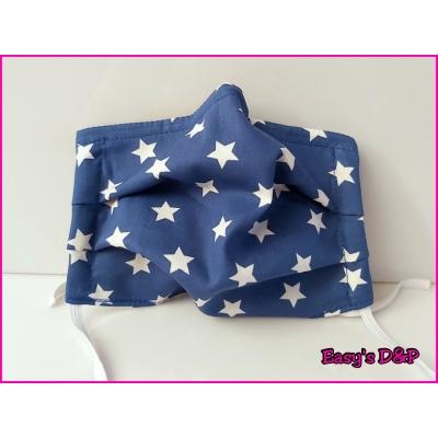 Mondkapje sterren blauw