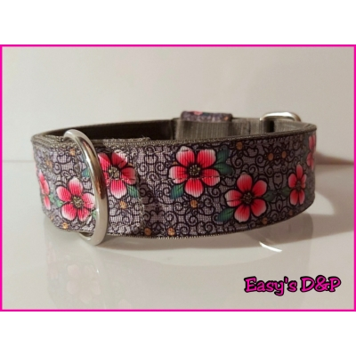 Grijs barok roze bloemen hb