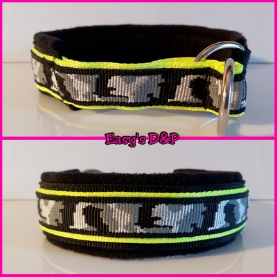 Sliphalsband camouflage grijs zwart neon geel