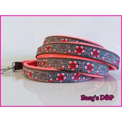 Lijn grijs barok bloemen neon roze fleece