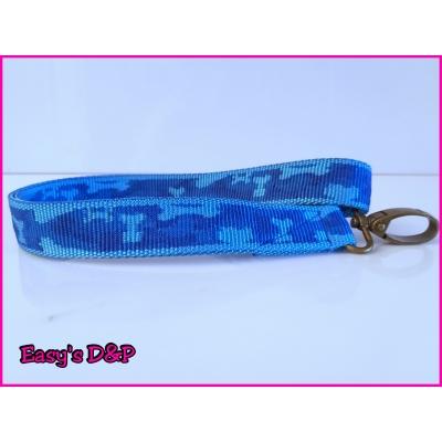 Sleutelhanger camouflage blauw nylon